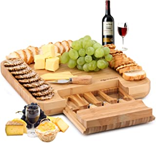 Natural Bamboo Cheese Board & Charcuterie Platter w/Hidden Drawer for Cheese Spreading Utensils - Perfect Gift Idea for Birthday, Wedding, Housewarming, Mom - Serves Crackers, Meats, Fruits & Cheese