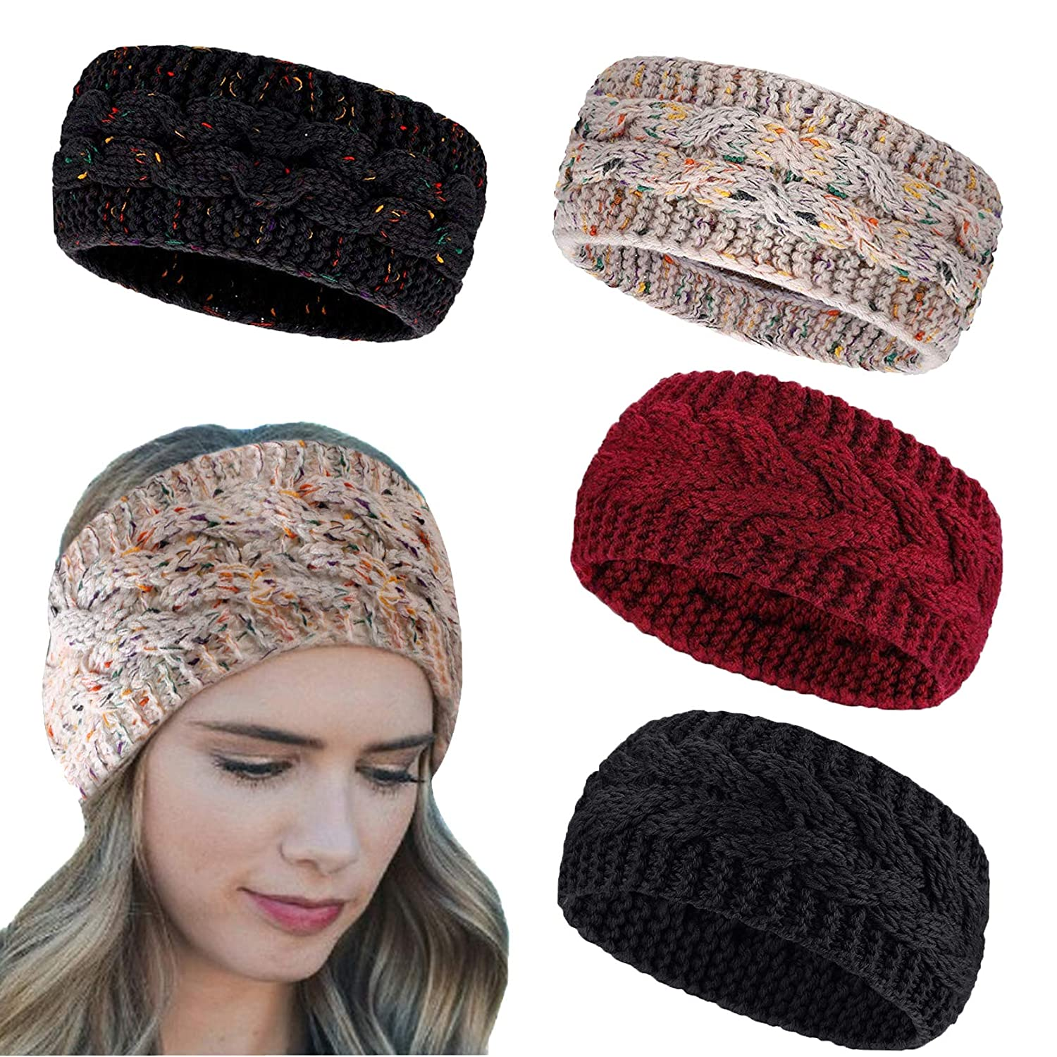 25% OFF Special price Qian Yang 4 Pack Women Winter Stretch Headband Cable Chunky Knit