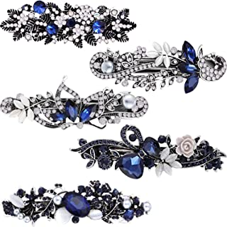 5 Pieces Crystal Rhinestones Hair Barrettes Flower Butterfly French Clip Vintage Spring Hair Clips Bridal Hair Jewelry for...