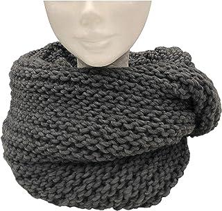 CG - Talento Fiorentino, scaldacollo tubolare lavorato a maglia, invernale, sciarpa ad anello intrecciato col. Grigio, uni...