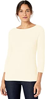 Marchio Amazon - Lark & Ro 3/4 Sleeve Ballet Neck Rib Sweater Donna