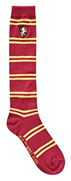 Harry Potter Gryffindor Striped Juniors/Ladies Knee High Socks with Embroidered Crest, Shoe: 4-10