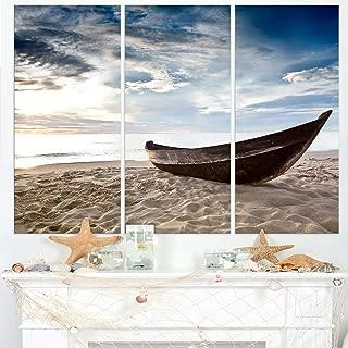 Designart Old Fisherman Boat-Seashore Photography Canvas Art Print-36x28in-Multipanel 3 Piece, 36x28-3 Panels, Blue
