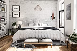 white king size bed frame with headboard