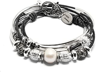 Lizzy James Kristy Silver Bracelet Necklace Pearls Silver Beads in Natural Black Leather (SMALL)
