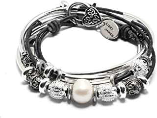 Lizzy James Kristy Silver Bracelet Necklace Pearls Silver Beads in Natural Black Leather by