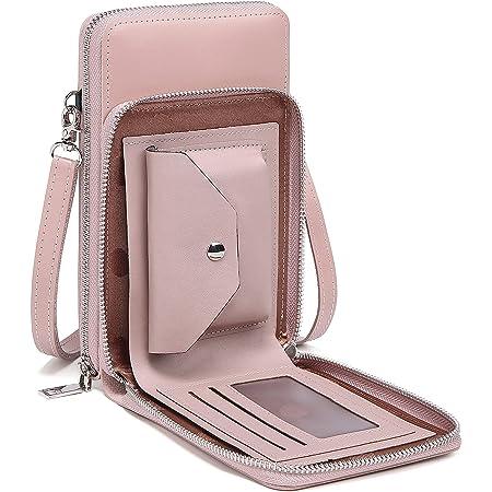 Fashion Handy Schultertasche + Münzen Tasche, Damen Beutel Handy Umhängetasche Kleine Brieftasche mit langem Gurt und Kartenfächer - unisoul Handytasche zum Umhängen(kompatibel mit iPhone 12/8)