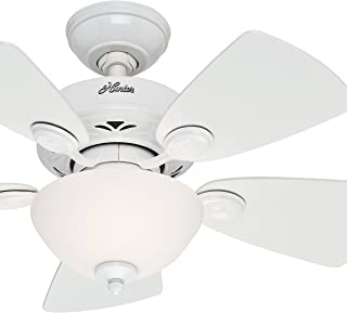 Hunter Fan 34 inch Snow White Finish Ceiling Fan with Painted Cased White Glass Light Kit (Renewed)