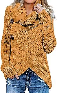 Jerseys De Punto para Mujer Cuello de Tortuga Manga Larga Suelto Prendas de Punto Suéter Irregular Jerséis Collar de la Pila Tops Cálido Otoño Invierno riou