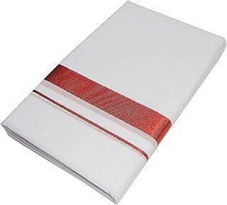 Mcr Pure Cotton White Dhoti / Kassavu Double Mundu (Available Border / Kara Selection) (Copper)
