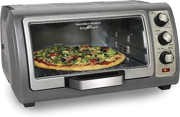 Hamilton Beach Countertop Toaster Oven Easy Reach With Roll Top Door 6 Slice Convection 31123D Silver