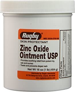 Zinc Oxide 20 % Skin Protectant Ointment for Diaper Rash, Chaffed Skin 1 Lb. Jar Pack of 2 Jars Total 2 Lb's (2)