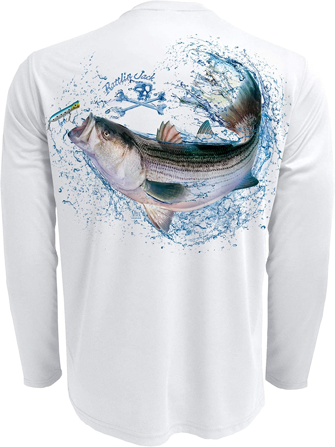 Rattlin Jack Men's Direct sale of manufacturer UPF SEAL limited product 50 Long Bass Striped Fishing Shirt Sleeve