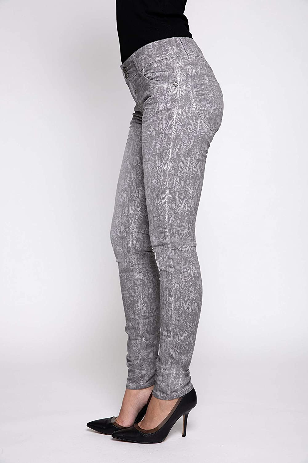 Coccara Bella Pantalon pour femme Non Denim Vintage Slim Fit Cn163 - Grey.