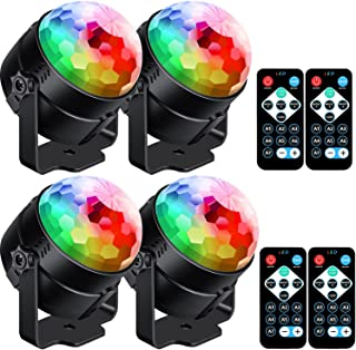 [4-Pack] Sound Activated Party Lights with Remote Control Dj Lighting, RBG Disco Ball Light, Strobe Lamp 7 Modes Stage Par Light for Home Room Dance Parties Bar Karaoke Xmas Wedding Show Club