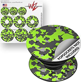 63c006270d4 Decal Style Vinyl Skin Wrap 3 Pack for PopSockets WraptorCamo Old School  Camouflage Camo Lime Green