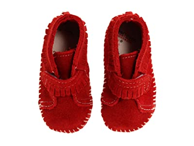 Minnetonka Kids Front Strap Bootie (Infant/Toddler) (Red Suede) Kids Shoes