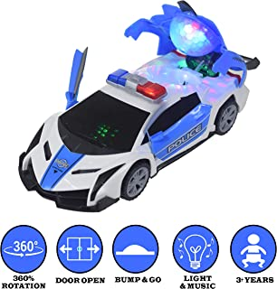 WISHKEY 360 Degree Rotation Door Open Police Car Toy with LED Lights and Music for Kids