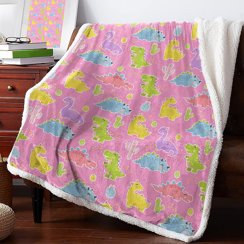 Sherpa Fleece Blanket lowest price Reversible Flannel Dinosaur C Cute Same day shipping