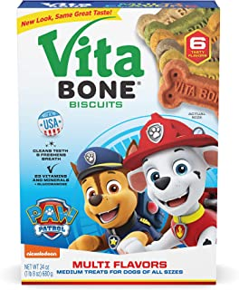 Vita Bone Multi Flavors Dog Biscuits Medium - 6 Flavors - Original, Chicken, Vegetable, Cheese, Beef, Liver - Digestible. Made in the USA. 24 oz. Box