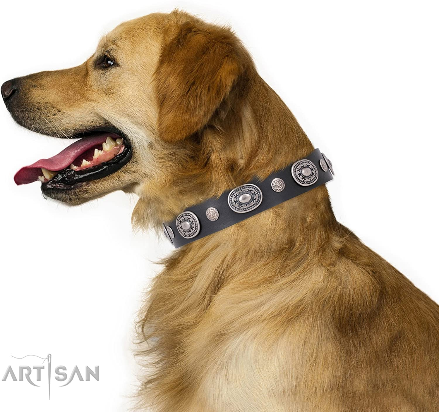 FDT Artisan 35 inch Black Leather Dog Collar with Old Silver Like Decorations  Black Tie  1 1 2 inch (40 mm) Wide