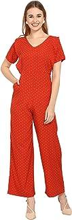 Serein Women's Polka Dot Printed Crepe Jumpsuit (Orange)