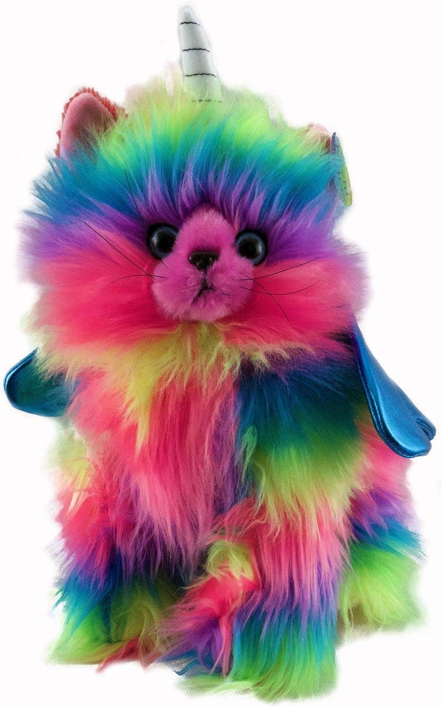 Rainbow Butterfly Unicorn Kitten Stuffed Toy With Light bluee Wings Plush