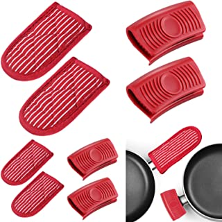 8 Pieces Striped Cast Iron Skillet Handle Cover and Silicone Assist Handle Holder for Frying Pans Aluminum Cookware Handles