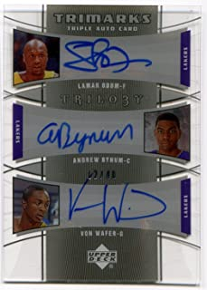 2005-06 Upper Deck Trilogy LAMAR ODOM ANDREW BYNUM Rookie VON WAFER TriMarks #OBW Rare Triple Signed Card Serial Numbered #12/40 SP Auto RC Los Angeles Lakers