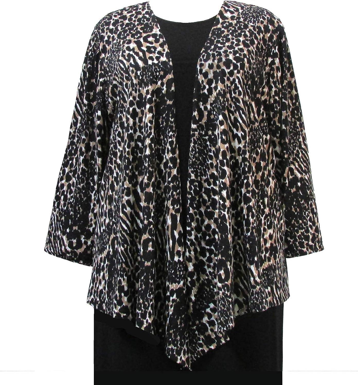 Leopard Drape Cardigan Sweater Woman's Plus Size Cardigan