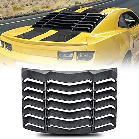 CUMART Rear Window Louvers Windshield Sun Shade Cover Lambo Style Matte Black Compatible with Chevy Camaro 2010 2011 2012 2013 2014 2015