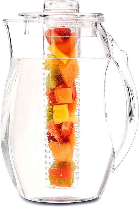 VeBo Tea And Fruit Infusion Pitcher With Ice Core Rod 2 9 Quart Water Pitcher Infuser