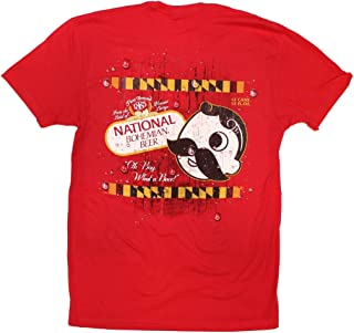 | National Bohemian Logo with Calvert Stripes Shirt in Red