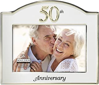 Malden International Designs Wedding 50th Anniversary Two Tone Picture Frame, 4x6, Gold/Silver