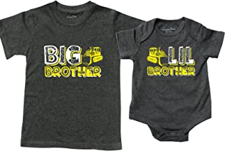 Feisty and Fabulous Construction Big Brother and Little Brother Sibling Shirts and Onesies