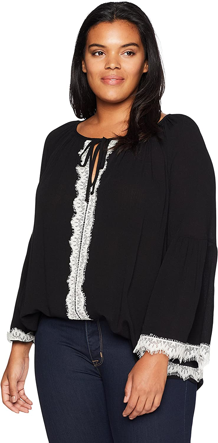 Karen Kane Womens Plus Size Lace Sleeve Top Blouse