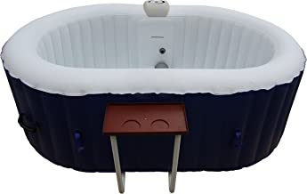 ALEKO HTIO2BLD Oval Inflatable Hot Tub Personal Spa with Drink Tray 2 Person 145 Gallon Dark Blue