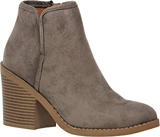 f5c7b42fc1a6 MVE Shoes Soda Womens Target Perforated Stacked Block Heel Ankle Bootie