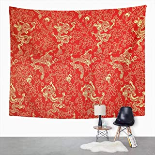 Qryipd Tapestry Wall Hanging 50 x 60 Inch Fragment Red Chinese Silk Golden Dragons and Flowers Print Polyester Wall Hanging Decor for Bedroom Livingroom Dorm Decoration