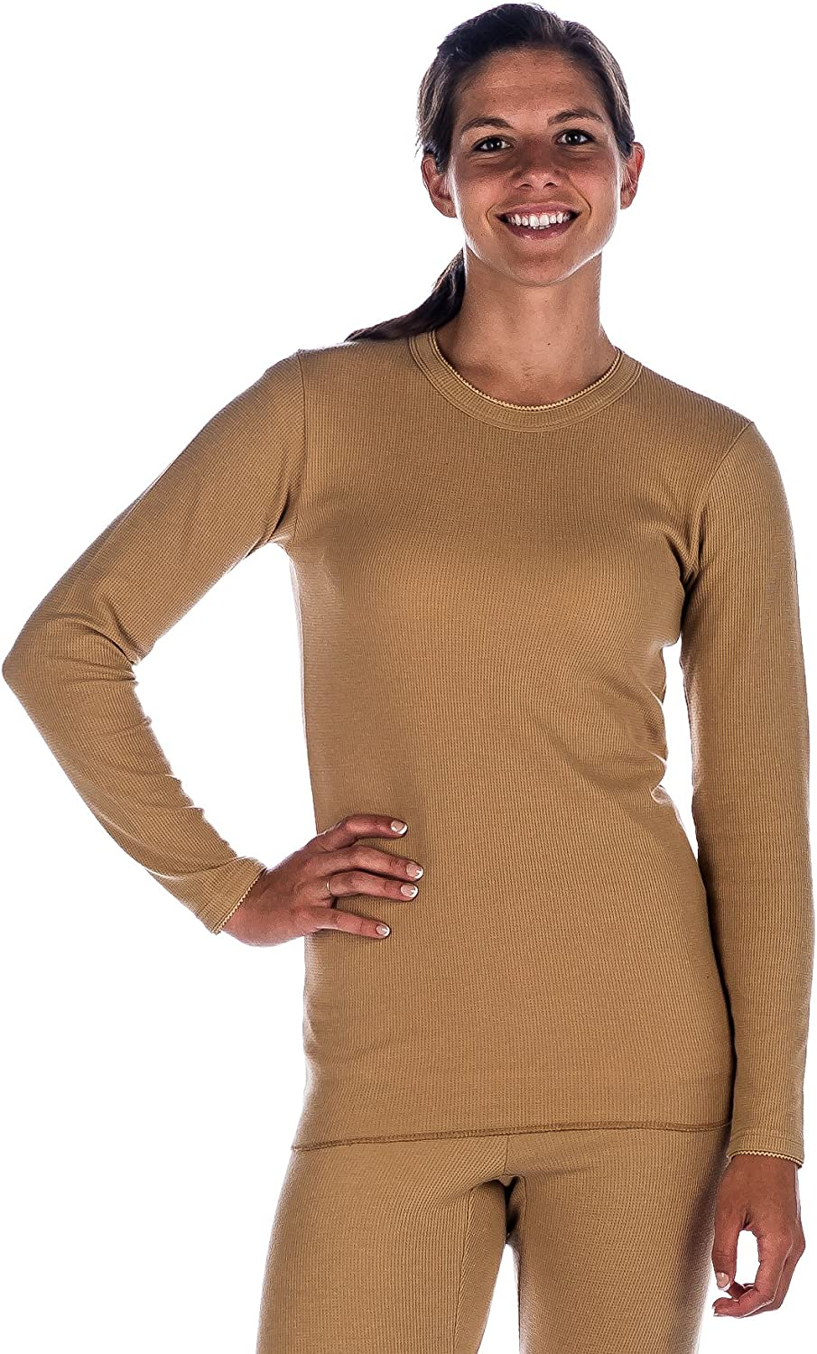Noble Mount Womens Classic Waffle Knit Thermal Crew Top