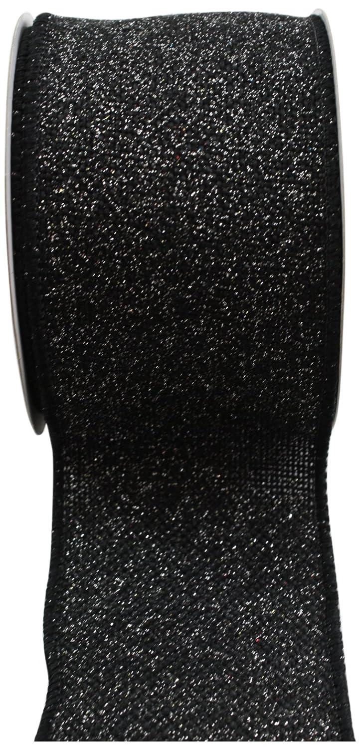 Kel-Toy RDJB162-20 Sparkle Faux Burlap Ribbon with Silver Glitter, 2.5-Inch by 10-Yard, Black