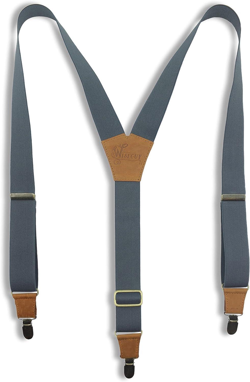 Suspenders Grey Elastic Wide 1.36 inch   Wiseguy Original