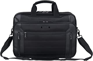 "Kenneth Cole Reaction Keystone 1680d Polyester Dual Compartment 17"" Laptop Business Portfolio, Black"