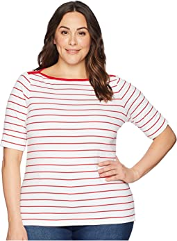 Plus Size Striped Cotton Elbow Sleeve Top