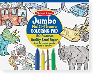 Melissa & Doug Jumbo 50-Page Kids Coloring Pad Paper; Oversized Sheets; Space, Sharks, Sports, and More, Great Gift for Girls and Boys - Best for 3, 4, 5 Year Olds and Up)