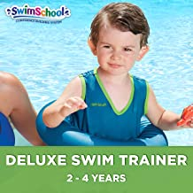 SwimSchool Deluxe TOT Swim Trainer Vest, Inflatable Toddler Swim Float with Adjustable Safety Strap, Heavy Duty, Blue/Berry
