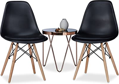 Relaxdays Chaise salle à manger design retro ARVID assise rembourrée lot de 2 moderne HxlxP: 82 x 47 x 55 cm, noir