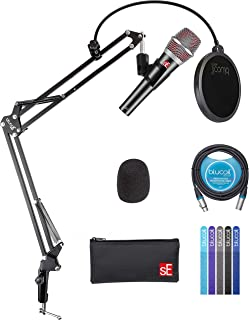 sE Electronics V7 Dynamic Microphone for Vocals, Drums, Guitar Amps and Acoustic Instruments Bundle with Blucoil Boom Arm ...