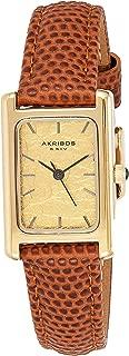 Akribos XXIV Leather Women's Watch – Small Rectangular Case, Three Hand Quartz Movement