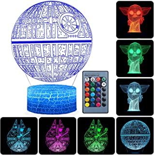 3D Illusion Star Wars Night Light, 3 Pattern and 16 Color Change Decor Lamp - Gifts for Kids and Star Wars Fans